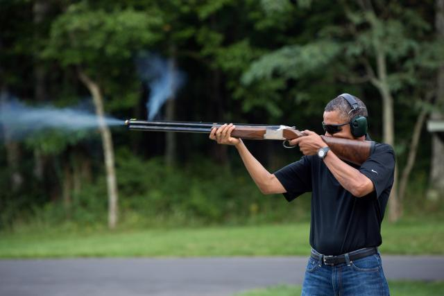 Immediately after this picture was taken, Obama tried to confiscate his own gun.