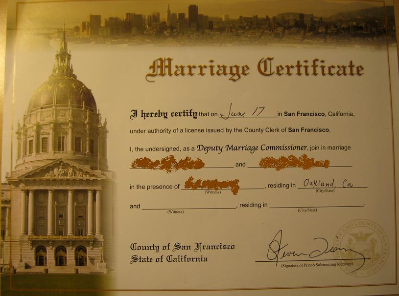marriage certificate souvenir contract license gay legal roles gender confuse legalize church